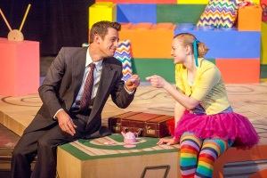 "Todd Schaefer as the title character and Kimberly Byrnes as Lucy in ""Mr. Marmalade"" at West End Players Guild. Photo: John Lamb"