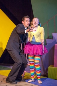 "Todd Schaefer as Marmalade envisions the future with Kimberly Byrnes as Lucy in ""Mr. Marmalade"" at WEPG. Photo: John Lamb"