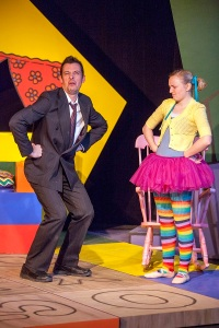 "Todd Schaefer as Marmalade mocks Lucy in the West End Players Guild production of ""Mr. Marmalade.: Photo: John Lamb"