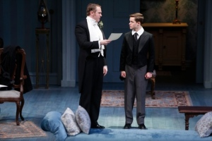 "Jay Stratton as Sir Robert grills Jay Stalder as Ronnie in ""The Winslow Boy"" at the Repertory Theatre of St. Louis. Photo: Jerry Naunheim, Jr."