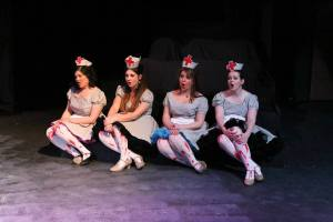 """Four devilish nurses are a highlight of Jerry's visit to hospital/purgatory in New Line's """"Jerry Springer- The Opera."""" Photo: Jill Ritter Lindberg"""