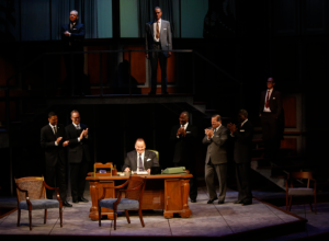 "LBJ surrounded by his supporters as he signs the Civil Rights Act into legislation during the Rep's production of ""All The Way."" Photo: Jerry Naunheim, Jr."