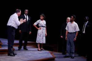 "LBJ talks to Fannie Lou Hamer (Myxolydia Tyler) during a tense moment in ""All The Way"" at the Rep. Photo: Jerry Naunheim, Jr."