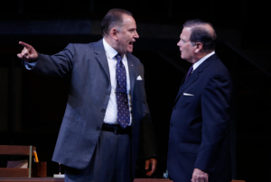 "Brian Dykstra as LBJ emphasizes a point to Kurt Zischke as Hubert Humphrey in the Rep's ""All The Way."" Photo: Jerry Naunheim, Jr."