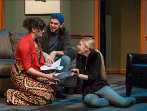 "Taylor Pietz, John Contini and Alicia Smith compare notes during the STLAS production of ""Seminar."""
